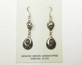 Native American Navajo Handmade Sterling Silver Coral Bearpaw Earrings
