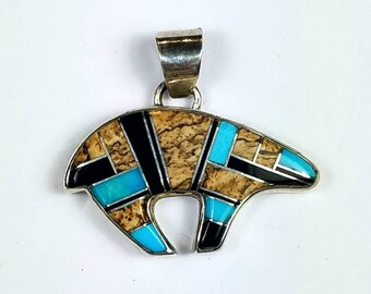 Native American Navajo handmade Sterling Silver inlay Turquoise Picture Jasper Onyx bear pendant by Calvin Begay