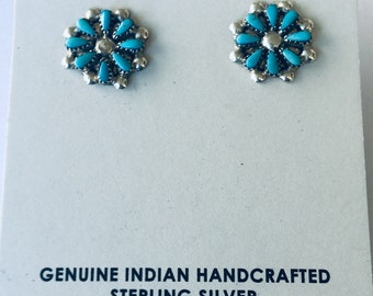 Native American Zuni needlepoint handmade sterling silver and turquoise stud earrings