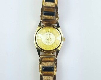 1980's Native American Navajo handmade Sterling Silver 12k Gold filled Jasper Tiger Eye Onyx stone watch
