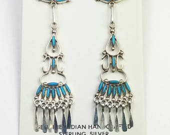 Native American Zuni handmade Sterling Silver Sleeping Beauty Turquoise post earrings