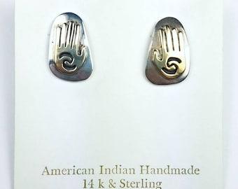 Native American Navajo handmade Sterling Silver 14k Gold overlay stud earrings