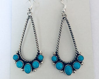 Native American Navajo handmade sterling silver and turquoise earrings