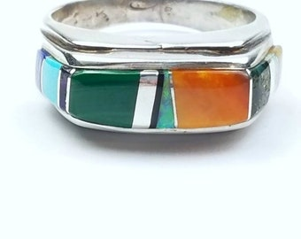 Native American Navajo handmade Sterling Silver multi-stone inlay ring