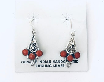 Native American Navajo handmade sterling silver and coral dangle earrings