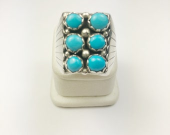 Native American Navajo Handmade Sterling Silver Sleeping beauty Turquoise Ring