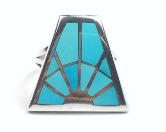 Sterling Silver inlay Turquoise ring