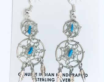 Native American Navajo Handmade Sterling Silver Turquoise Dream Catcher Dangle Earrings