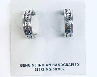 Native American Navajo handmade sterling silver half hoop earrings