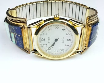 Native American Navajo handmade Sterling Silver 12k Gold fill inlay Lapis Opal stone watch