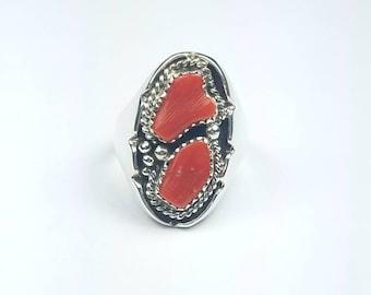Native American Navajo handmade Sterling Silver Mediterranean Coral ring