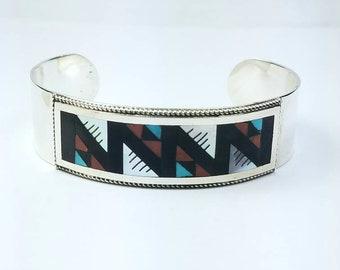 Native American Zuni handmade Sterling Silver inlay multi-stone cuff bracelet