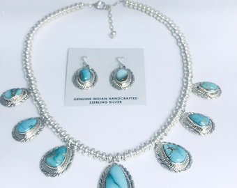 Native American Navajo handmade Beaded Sterling Silver and Turquoise  and Earring Set