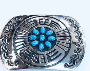 Native American Navajo handmade sterling silver turquoise belt buckle by artist Roscoe Scott