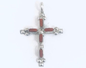 Native American Handmade Zuni Sterling Silver Coral Needlepoint Cross Pendant