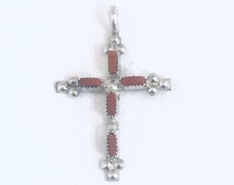 Native American Handmade Zuni Sterling Silver Coral Needlepoint Cross Pendant
