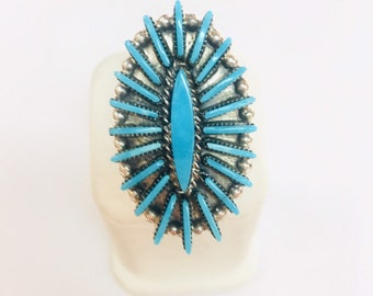 Native American Zuni hand made sterling silver Turquoise ring
