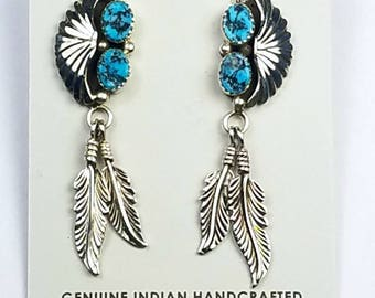 Native American Navajo handmade Sterling Silver Kingman Turquoise post earrings
