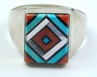 Native American Zuni handmade Sterling Silver multi-stone inlay ring