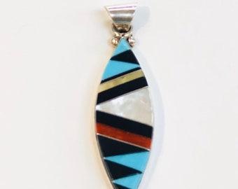 Native American Zuni handmade sterling silver multicolored inlay pendant