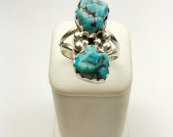 Native American Navajo Handmade Sterling Silver Kingman Turquoise Ring