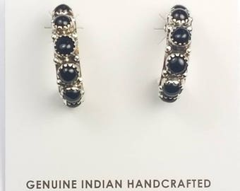 Native American Navajo handmade Sterling Silver Black Onyx post earrings
