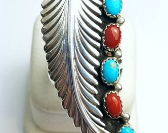 Native American Navajo Handmade Turquoise and mediterranean Coral Ring