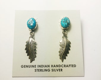 Native American Navajo Handmade Sterling Silver Kingman Feather Earrings
