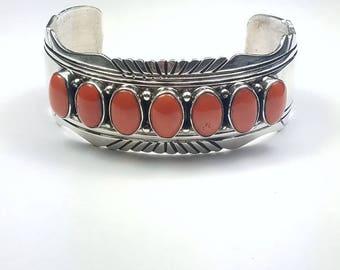 Native American Navajo handmade Sterling Silver Coral cuff bracelet
