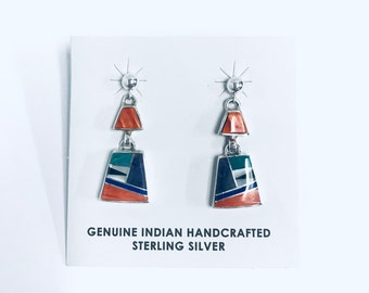 Native American Navajo handmade sterling silver dangle earrings inlaid with multi-colored stones