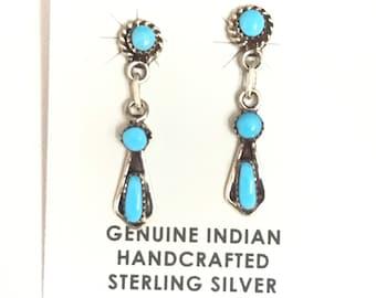 Native American Zuni Handmade Sterling Silver Turquoise Drop Dangle Earrings