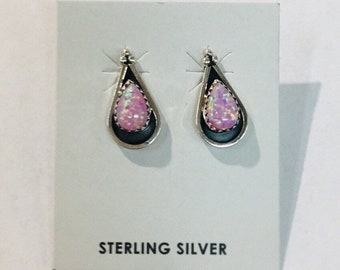 Native American Navajo handmade Sterling silver and pink opal stud earrings