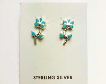Native American Navajo Handmade Sterling Silver Sleeping Beauty Flower Earrings
