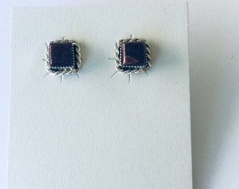 Native Anerican Navajo handmade sterling silver set with deep purple spiny oyster shell stud earrings
