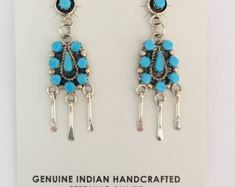 Native American Zuni handmade sterling silver and sleeping beauty turquoise earrings