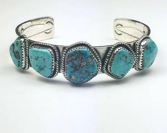 Native American Navajo handmade Sterling Silver Kingman Turquoise cuff bracelet