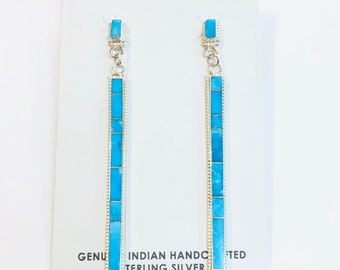 Native American Izumi handmade sterling silver sleeping beauty turquoise inlay long dangle earrings