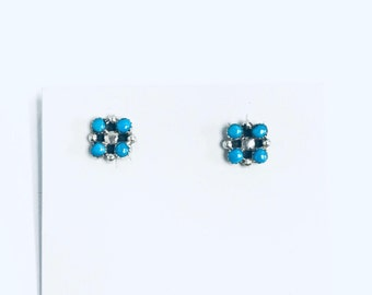 Native American Navajo handmade sterling silver stud earrings set with sleeping beauty turquoise