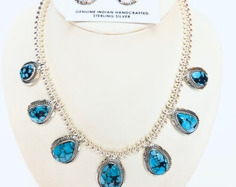 Native American Navajo handmade sterling silver Persian turquoise necklace set