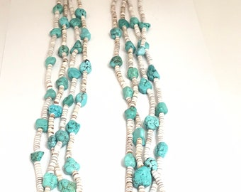 Vintage Estate Piece Native American Handmade Santo Domingo 3 Strand Turquoise and Pin Shell Heishi Bead Necklace