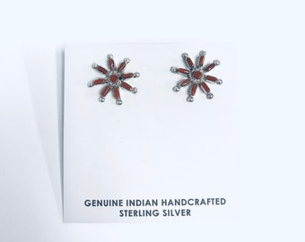 Native American handmade Zuni needlepoint sterling silver stud earrings set with Coral