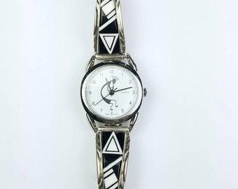 Native American Navajo handmade Sterling Silver Onyx Howlite stone watch