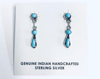Native American Zuni handmade sterling silver and Turquoise dangle earrings
