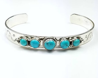 Native American Navajo handmade Sterling Silver Sleeping Beauty Turquoise cuff bracelet
