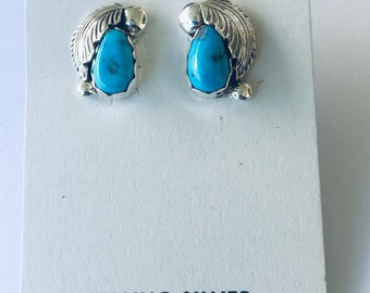 Native Anerican Navajo handmade sterling silver and turquoise stud earrings
