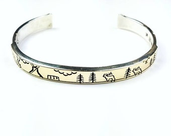 Native American Navajo handmade Sterling Silver 14k Gold overlay cuff bracelet
