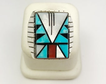 Native American Navajo Handmade Sterling Silver Turquoise, MOP, Coral Ring
