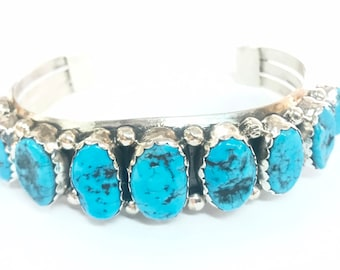 Native American Navajo handmade sterling silver mens womens cuff bracelet set with Kingman turquoise stones