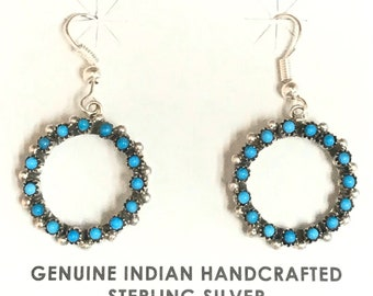 Native American Zuni Peti-Point Sterling Silver Sleeping Beauty Turquoise Dangle Earrings