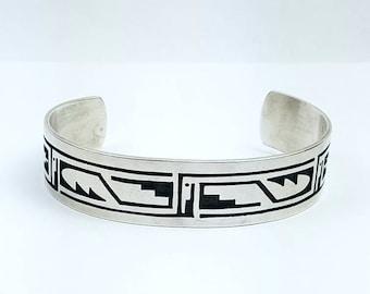 Native American Hopi handmade Sterling Silver cuff bracelet